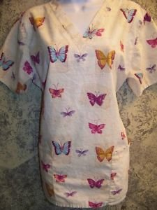 Butterfly print scrubs top nurse dental vet medical uniform womens M v-neck Used