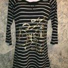 Black white stripe knee length t-shirt top nightgown L lightweight stretch DREAM