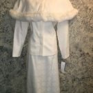 ST ANTHONY EVENING mother of bride ivory brocade fur trim cape skirt suit 10 EC