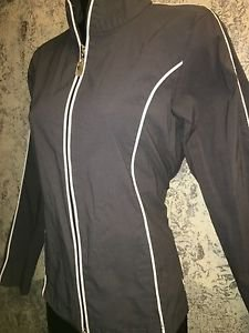 DANSKIN gray water resistant stretch athletic running coat jacket S-M slim fit