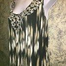 Hippie boho black khaki artsy aztec tribal henley tank wood buttons knit top XL