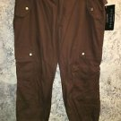 New lightweight cotton parachute capri pants junior 13 brown RAMPAGE mid rise