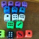 "Set of 16 lightweight plastic 1"" colorful neon dice cubes kids games purple blue"