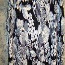 Artsy black white PATCHINGTON pucker crinkle stretch knee length skirt women XL