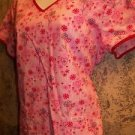 Valentines Day heart floral v-neck scrubs uniform top dental medical nurse vet M