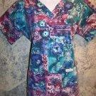 LANDAU abstract artsy womens S scrubs nurse dental uniform top v-neck pullover