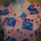 BLUE'S CLUES pink dog Valentine Day hearts v-neck scrubs uniform top medical XS