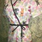 CHEROKEE mock wrap gathered waist side tie cat dog  scrubs top nurse dental S