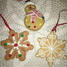 3 ornaments CHRISTmas tree snowflake snowman cookie old fashioned cute whimsical