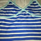 OLD NAVY girl's XS tankini bathing swimming swim suit top blue stripes NWOT