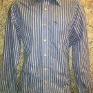 ABERCROMBIE & FITCH Muscle blue white stripe button down dress shirt M slim fit