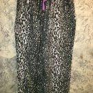 Black cheetah flannel sleep lounge pajama pjs bottoms pants elastic drawstring S