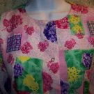 Cheerful pink floral snap front 3/4 sleeve modest scrub jacket medical uniform M
