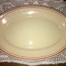 "STERLING Dessert Tan dark pink 2 ring band 13"" platter restaurant dish vintage"