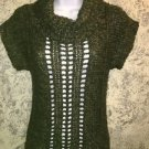 Bulky knit green CHRISTmas cowlneck S sweater cap sleeve metallic threading MUDD