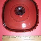 """PYREX visionware square 7.5"""" amber glass casserole dish ovenware bakeware lid GC"""