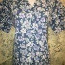 MEDLINE blue floral flowers v-neck scrubs uniform top dental medical nurse vet S