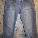AEROPOSTALE AERO stretch denim blue jeans capri peddle pushers women junior 3/4