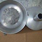 Vintage aluminum bundt cake pan 2 part tube angel food silver lightweight tunnel