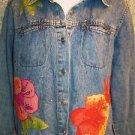 Tropical flower cruise island wear embellished faded jean jacket women petite L