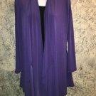 Purple cascading slinky stretch knit open front jacket top XS asymmetrical hem