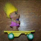 "3"" troll doll vintage working skate board singer music 70s ? retro toy gnome"