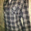 SONOMA plaid button down collared shirt navy blue plaid wester M stretch casual