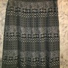 Artsy black khaki print wide pleat full knee length skirt attach slip petite 14