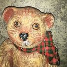 Vintage ? handmade hand painted paper mache teddy bear CHRISTmas plaid bow 18""