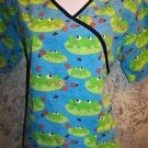 Frogs lily pads blue green mock wrap pullover vneck scrub top nurse medical XS