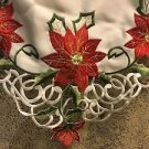White satiny cloth 5.5' table runner CHRISTmas embroidered poinsettia flowers