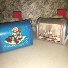 2 tin metal mini mailbox CHRISTmas winter decorations hinged door flag snowman