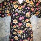 COTTONAILITY black floral short sleeve scrub top jacket dental lab vet coat XS
