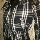 JOUJOU black plaid waterproof coated short cropped hooded light jacket junior M
