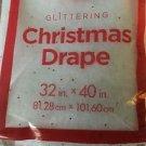 "2 white glitter sparkling CHRISTmas drapes 32x40"" village nativity tree table"