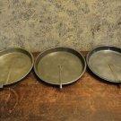 "3 vintage 9"" metal1"" deep cake pans tin plates slider arm handle easy removal"