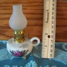 Miniature functional kerosene oil finger rings lamp footed doll house pink roses