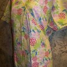 DICKIE'S bright abstract mock wrap gather tie scrubs top dental medical nurse L
