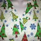 Cheerful CHRISTmas tree  v-neck scrubs uniform top dental medical nurse vet S