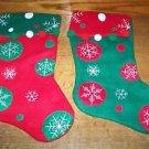 2 whimsical CHRISTmas stockings felt red green polka dots snowflakes pom poms