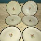 """6 bread plates 6"""" PADEN CITY ivory 22K gold trim floral bouquet antique dishes"""