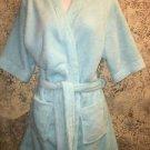 HOTEL COLLECTION sky blue plush shawl wrap tie bath house robe above knee OSFM