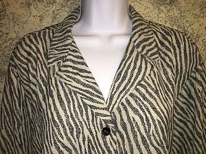 ELISABETH Liz Claiborne Petite Plus 22 french cuffs abstract zebra print blouse