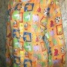 Cheerful orange cartoon animal scrubs uniform jacket dental medical nurse vet L