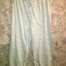 Mint green floral cotton sleep lounge pj pajamas bottoms pants M elastic waist