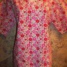 Cheerful pink flowers spring v-neck pullover scrubs top dental medical nurse XS