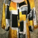 Bright yellow black satiny silky scoopneck gathered sleeve pleats dressy top 14