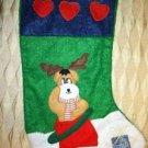 Dog pet CHRISTmas hanging stocking green felt reindeer hearts decoration NWOT