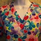 Colorful Valentines hearts v-neck scrubs uniform top dental medical nurse vet XS