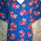 Retro 70s flowers hearts mock wrap scrubs uniform top dental medical nurse 1X